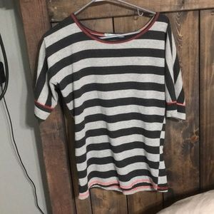 Light and dark grey striped top in size small.